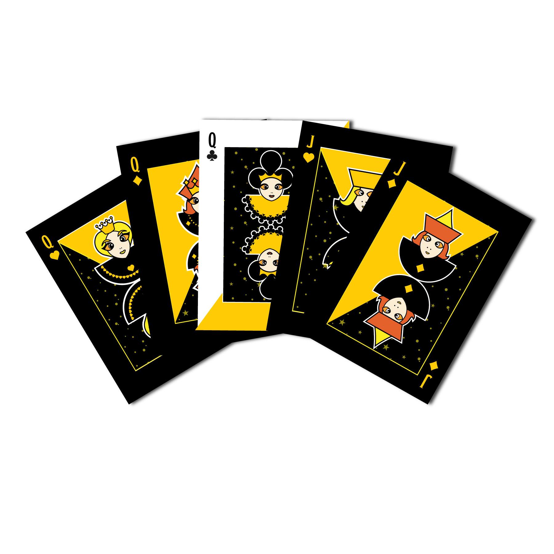 Pelikortteja, kolme akkaa ja kaksi jätkää.