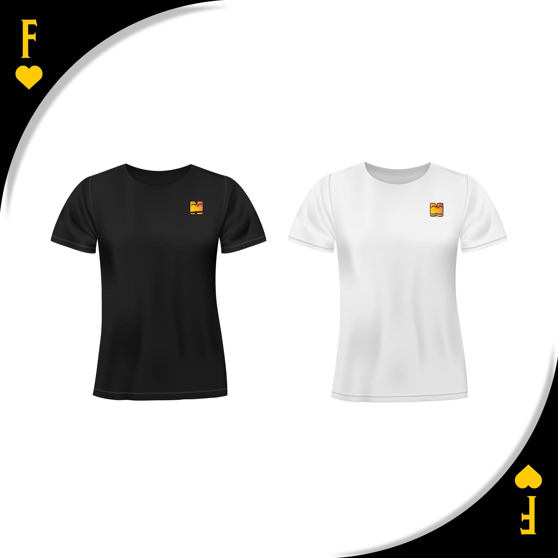 Musta ja valkoinen t-paita Funlus Oyn logolla.